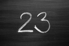 Number twenty three enumeration written with a chalk Royalty Free Stock Photography