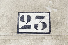 Number twenty three on a wall Stock Photography