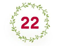 The number twenty two 22 in red color on the white background stock illustration