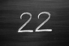 Number twenty two enumeration written with a chalk Stock Photography