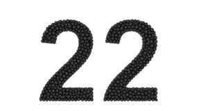 Number 22, twenty-two, made of black balls stock video footage