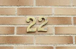 Number twenty two on a wall Stock Image