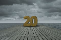 Number twenty. On wooden floor at ocean Royalty Free Stock Photography