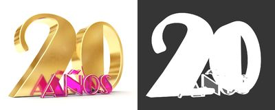 Number twenty years 20 years celebration design. Anniversary golden number template elements for your birthday party. Translated. From Spanish - Years. 3D Stock Illustration