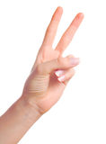 Number two. Woman hand showing number two or victory gesture Stock Photography