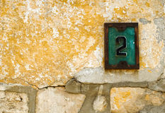 Number two. An old sign with the number two Royalty Free Stock Photos
