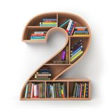 Number 2 two. Alphabet in the form of shelves with books isolate Royalty Free Stock Photography