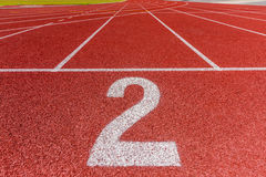 Number two on athletics  running track Royalty Free Stock Photography