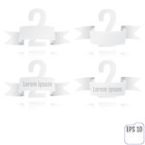 Number two background with white ribbon on white. Vector illustr Royalty Free Stock Images