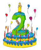 Number Two On Birthday Cake With Candles Royalty Free Stock Photography