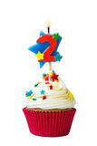 Number two cupcake. Cupcake with number two candle Stock Image