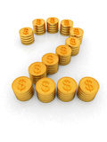 The number two of gold coins with dollar sign Royalty Free Stock Photos