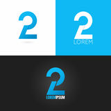 Number two 2 logo design icon set background Stock Photo