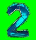 Number 2 two in low poly style blue color isolated on green background. 3d. Rendering Royalty Free Illustration