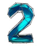 Number 2 two in low poly style blue color isolated on white background. 3d. Rendering vector illustration