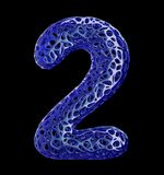 Number 2 two made of blue plastic with abstract holes isolated on black background. 3d. Rendering Stock Photos