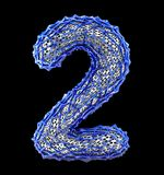 Number 2 two made of blue plastic with abstract holes isolated on black background. 3d. Rendering stock illustration