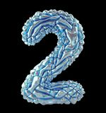 Number 2 two made of crumpled silver and blue foil isolated on black background. 3d. Rendering stock photography