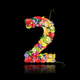 Number two made from fruits. Stock Images
