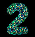 Number 2 two made of golden shining metallic 3D with green glass isolated on black background. 3d rendering Stock Photo