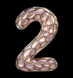 Number 2 two made of golden shining metallic 3D with pink glass isolated on black background. 3d rendering Royalty Free Stock Photos