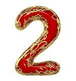 Number two 2 made of golden shining metallic with red paint isolated on white 3d. Rendering Royalty Free Illustration
