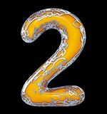 Number two 2 made of golden shining metallic with yellow paint isolated on black 3d. Rendering vector illustration