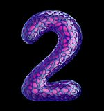 Number 2 two made of purple plastic with abstract holes isolated on black background. 3d. Rendering stock illustration