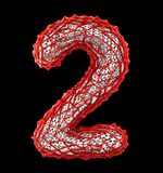 Number 2 two made of red plastic with abstract holes isolated on black background. 3d. Rendering royalty free illustration
