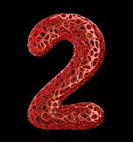 Number 2 two made of red plastic with abstract holes isolated on black background. 3d. Rendering vector illustration