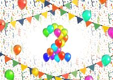 Number two made up from bright colorful balloons on white background with confetti. Number two made up from bright colorful balloons on background with confetti Stock Image