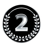 Number two medal. Number two silver vector medal Stock Photo