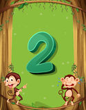 Number two with 2 monkeys on the tree Stock Photography