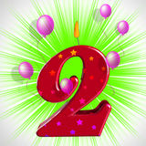 Number Two Party Means Second Birthday Or Celebration Stock Photo