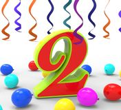 Number Two Party Shows Birthday Celebration Or Royalty Free Stock Photos