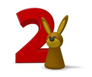 Number two and rabbit Stock Photos