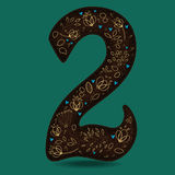 Number Two with Royal Golden Floral Decor Royalty Free Stock Image