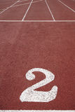 Number two signpost in an athletic running track Royalty Free Stock Photo