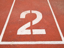 Number two on the start. Of a running track Royalty Free Stock Photos