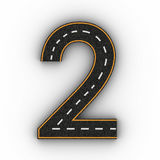 Number two symbols of the Figures in the form of a road with white and yellow line markings 3d rendering. On white background Royalty Free Stock Photos