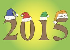 Number 2015. Number two thousand fifteen in festive caps stock illustration