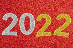 Number two thousand and twenty one over a red background. Annive Stock Images