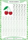 Number 2. Two Tracing Worksheet. Cherry berry. Preschool worksheet, practicing motor skills - tracing dashed lines. A4. Blue. Vector royalty free illustration