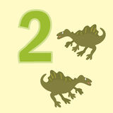 Number two. Two dinosaur (Spinosaurus). Poster for numeracy.Figure two. Around the figure is a picture of two dinosaurs Royalty Free Stock Photos