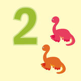 Number two. Two dinosaurs (Brachiosaurus). Poster for numeracy.Figure two. Around the figure is a picture of two dinosaurs Stock Photography