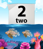 Number two and two fish under the sea. Illustration Royalty Free Stock Images