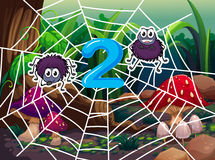 Number two with two spiders on web Royalty Free Stock Photos