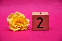 Number two with a yellow rose. On a pink background stock photos