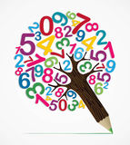 Number variety concept pencil tree. Collection of numbers concept pencil tree design. Vector illustration layered for easy manipulation and custom coloring Royalty Free Stock Image