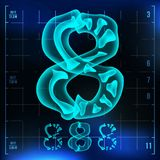 8 Number Vector. Eight Roentgen X-ray Font Light Sign. Medical Radiology Neon Scan Effect. Alphabet. 3D Blue Light Digit. With Bone. Medical, Pirate, Futuristic Stock Photo
